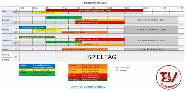 2020-21 TSV Fussball Trainingsplan