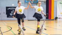 DM2019 Einrad-Freestyle - AK Paarkür U13 - Zoe Lützkendorf & Annika Wieczorek - Thema Emojis - 7. Platz
